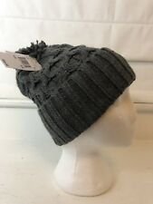 Michael Kors Charcoal Gray Pom Beanie Knit Cable Ribbed Women's Hat MSRP $48 NEW