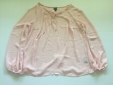 Worthington Woman Plus Size Shirt 0X Long Sleeve Pale Pink Sheer Career Blouse