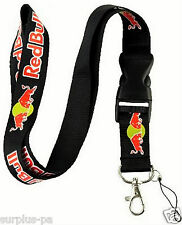 Red Bull   Lanyard ID Holder Keychain Cell Phone Detachable clip black