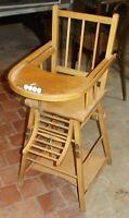 Ancienne chaise haute France bébé Bouillie Dinette Fauteuil baby chair Boiled