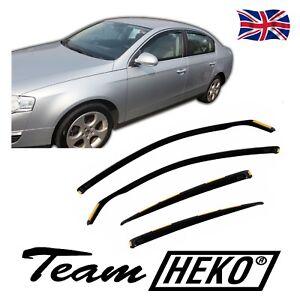 HEKO TINTED WIND DEFLECTORS for VW PASSAT B6 B7 4 DOOR SALOON 2005-2014 4pc