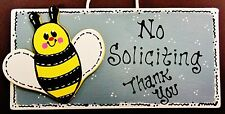 Bee No Soliciting Bumblebee Sign Porch Wall Art Hanger Plaque Country Wood Craft