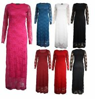 Women Ladies Long Sleeve Lace Evening Party Cocktail Maxi Floral Bodycon Dress