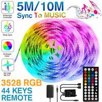 5M/10M 3528 SMD RGB 600 LEDs Strip Music Light String Tape + IR Remote control