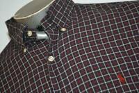 9199-a Mens Polo Ralph Lauren Dress Shirt Size Large Black Red Plaids