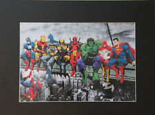 super Heros Print of Original Portrait 8x10 Matted Wall Decor picture Gift Art