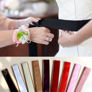 Wedding Dress Satin Sash Long DIY Bow Girdle Bridal Ribbon Party Belt Multicolor