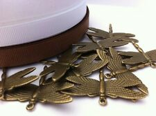 10 ANTIQUE BRONZE GOLD PLATED DRAGONFLY CHARM PENDANTS (36mm x 28mm)
