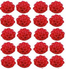 20 x  Red Dahlias Resin Cabochon Flowers   15mm x 8mm