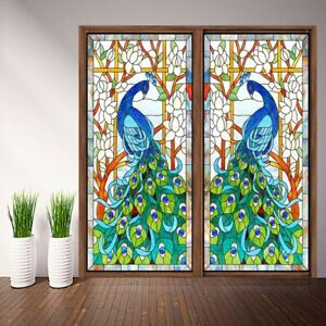 2Pcs Peacock Window Film Privacy Frosted Glass Sticker Home Decorative Film