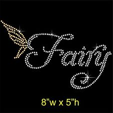 Fairy Rhinestone / Diamante Transfer Hotfix Iron on Motif Appliqué and Free Gift