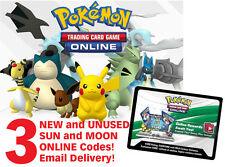Pokemon Sun & Moon Booster TCG Online Codes | 3 NEW and UNUSED Codes | Emailed