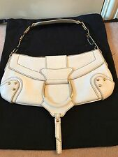 *DOLCE AND GABBANA* WHITE LEATHER HANDBAG CLUTCH WITH GOLD DG HARDWARE