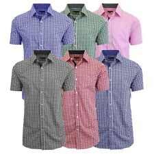 Mens Short Sleeve Shirt Plaid Gingham Check Slim Fit Dress Casual Lounge NWT NEW