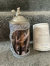 """New listing The Cry Of The Wolfpack Stein Series """"Timber Wolf Duet,"""" Longton Crown, No Box!"""
