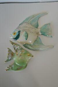 Vintage Ceramic Angelfish 2 Pcs Bathroom Decor Hanging Wall Art MCM Collectibles