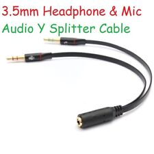 3.5mm Y Splitter Jack 2 Male - Female Headphone Mic Micphone Audio Adapter Cable