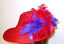 Red & Purple Chandelle Feather Gold Tone Hat Pin Society Ladies