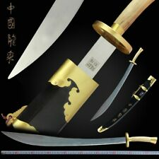 Lacquer wood Martial arts KUNG-FU TaiChi Knife Sword Stainless Steel Blade #042