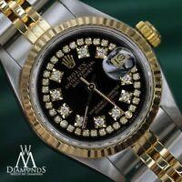Women's Rolex 26mm Datejust 18K Gold & Glossy Black String Diamond Dial