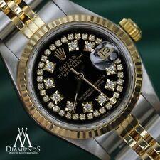 Genuine Rolex 26mm Women's Datejust 18K Gold & Glossy Black String Diamond Dial