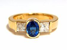 2.00ct natural sapphires diamond three stone ring 14kt royal blue