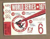 1971 World Series ticket Pittsburgh Pirates Baltimore Gm 6 Roberto Clemente HR