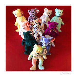 Ty Beanie Babies Lot Of 10 BEARS Holiday Sherbet Ty2k Clubby Millennium Ariel