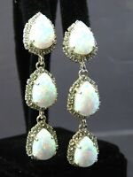 Vtg Silver Tone DANGLE EARRINGS Tear/Pear FAUX WHITE FIRE OPAL Rhinestones FINE!