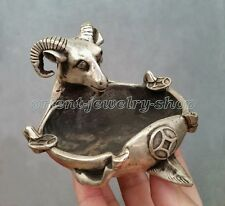 Famous handwork goat Old Dynasty Rare Tibet silver Vintage Statue sheep ashtray