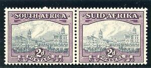 South Africa 1941 KGVI 2d grey & dull purple bilingual pair superb MNH. SG 58a.