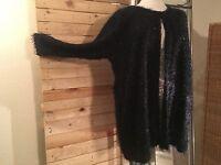 Wunderschöne Jacke von Magna im Fusel-Look schwarz GR 56/58 leicht transparent