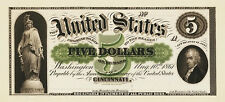 PREPRODUCTION  1863 $5 dollars US note currency , 1-side