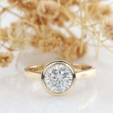 Engagement Ring 14K Solid Rose Gold 1.50Ct Near White Moissanite Modern Bezel