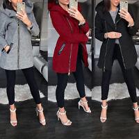 Winter Women Ladies Warm Collar Hooded Zipper Long Sleeve Coat Jacket Outwear