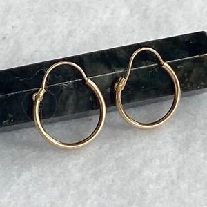 """Dainty 14K Yellow Gold Huggie Hoop Earrings 12mm (0.50"""") 0.24g Endless Hoops"""