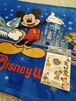 """Vintage Walt Disney World Fleece Blanket 40""""x58"""" Sticker Combo Lot Mickey Mouse"""
