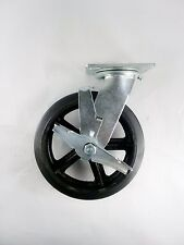 """8"""" x 2"""" Rubber On Cast Iron Caster - Swivel with Brake"""