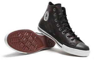 Converse Chuck Taylor Leather Hi Black/Cranberry Sneakers Men's Sz 7 Women Sz 9