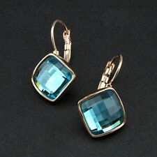 New 18K Rose Gold GF Blue Aqua CRYSTAL Square Hoop Huggie Earrings Stunning
