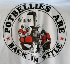 """Classic Maine T-Shirt """"Potbellies Are Back In Style"""" Souvenir White Size Xl"""