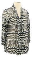 SUSAN GRAVER 3X black chevron striped loose knit long sleeve open front cardigan