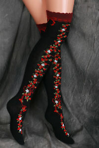 So-55 Black Red Strawberry Flowers Bow Lolita Socks over the Knee Stockings Cute