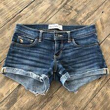 Abercrombie Kids Girls Size 14 Cut Off Denim Jean Shorts Frayed Rolled Cuffs
