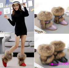 Womens Thicken Winter Snow Boots Big Faux Fur Warm Plush Lining Ankle Boots Size