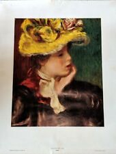 "Young Girl With a Hat Fine Art Print by Auguste Renoir 29"" x 22.5"""