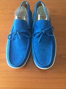 TOD'S GOMMINO MEN'S DRIVING LOAFERS ROYAL BLUE SUEDE NEW SIZE UK 11.5/ US 12.5