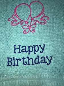 Embroidered Teal Kitchen  Hand Towel  Happy Birthday w Balloons BS2128