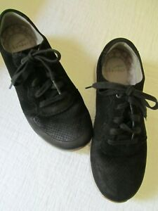 Dansko Black Leather Sneakers Light Gray Soles 38