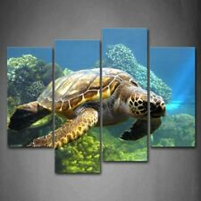 Turtle Swimming In Bottom Of Sea Wall Art Painting The Picture Print On Canvas